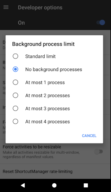 Limit Background Processes